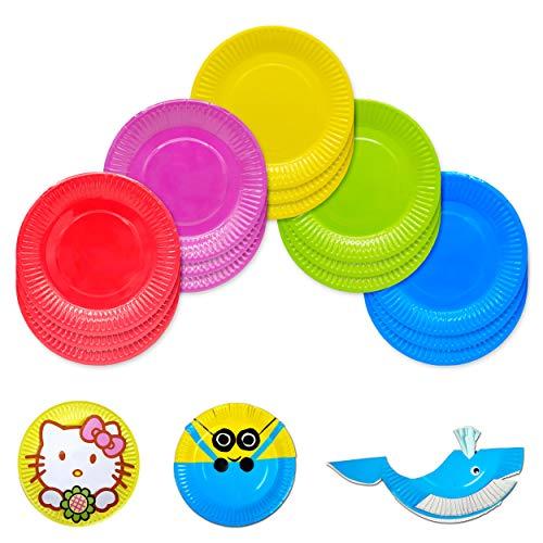 50 Coloridas Desechables Placas Papel,Fáciles de Usar,No Solo Aptas para Todo Tipo de Banquetes,sino También para Confeccionar Productos Artesanales Platos De Papel (5 Colores)