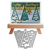 YunTrip - Troqueles de corte de metal para árbol de Navidad, diseño de triángulo, plantillas cortadas para manualidades, álbumes de fotos, troqueles de papel decorativo para hacer tarjetas
