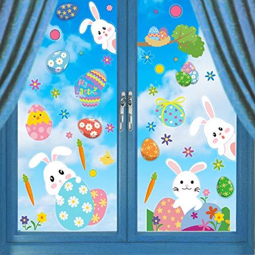 Ccinee, adesivi pasquali per finestra, decorazione della casa, coniglietto, uova di Pasqua, 12 fogli
