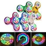 FIGROL Fidget Spinner, Led Light Fidget Toy Rainbow Finger Toy Hand Figit Spinner-Kids for ADHD Anxiety Stress Reducer (5 Pack)