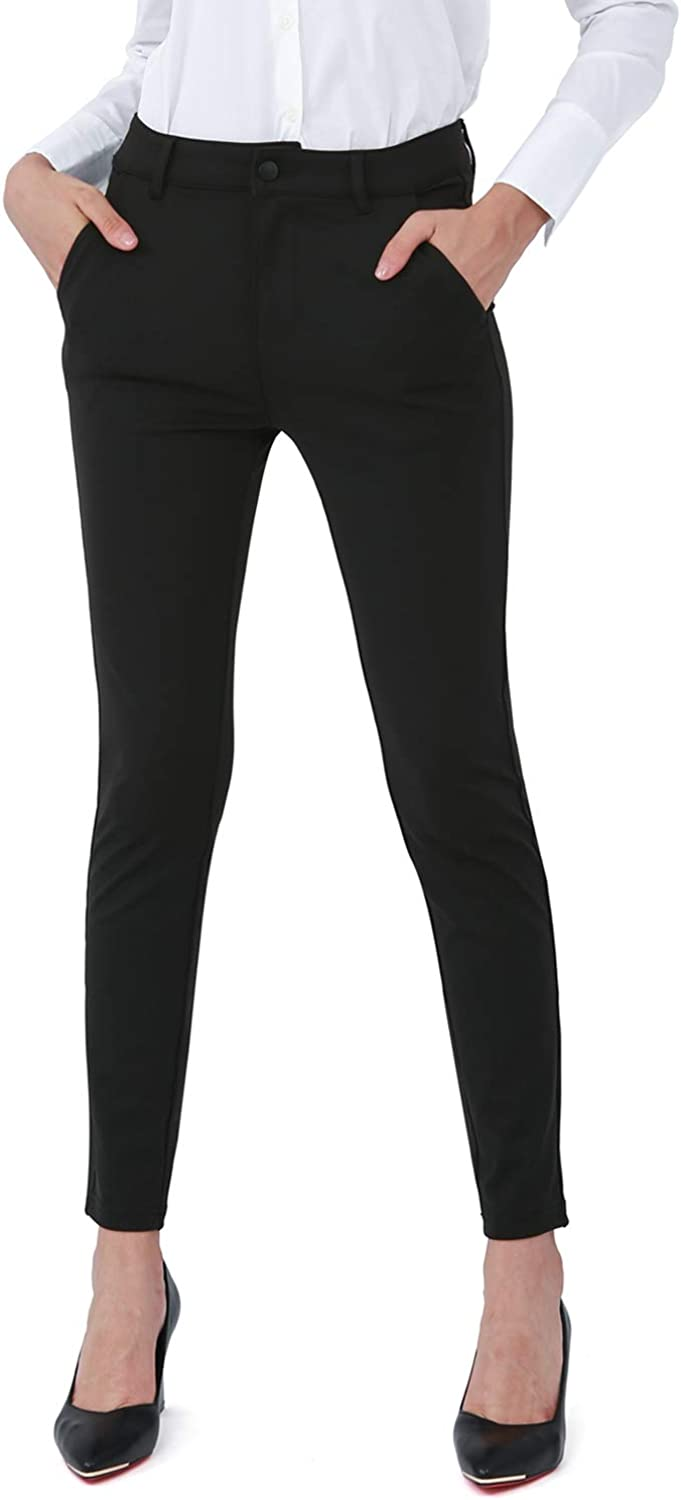 Bamans Dress Pants for Women Business Casual Stretch Skinny Work Pants with Pockets