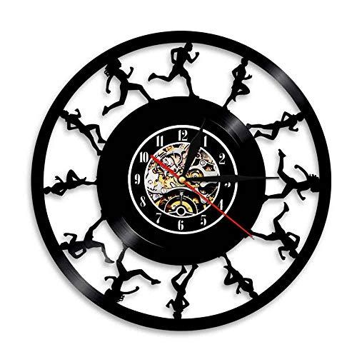 Eld 30cm Corredores de maratón Reloj de Pared Correr Deporte Atletas Club Disco de Vinilo Fitness Diseño Moderno Decoración de la habitación Moda Música Moderna Arte Registro Relojes de Pared