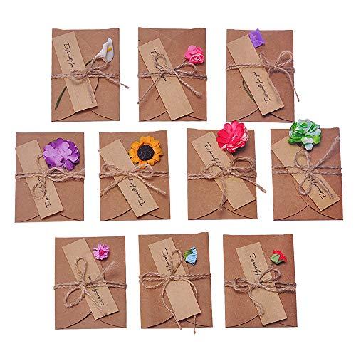 FineInno 10 pcs Tarjeta de Felicitación, Papel Kraft Sobres en Blanco,10,5 x 7 cm Navidad Fiesta Postal Boda Regalo Cumpleaños Christmas,Hecho a Mano