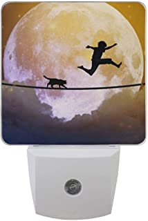 Plug-in Night Light Lamp Teenager and Cat Walking with Balloon Tight Rope Above Clouds Dusk-to-Dawn Sensor LED Nightlight Smart Light Automatically Lights Bedroom, Bathroom, Kitchen, Hallway, Stairs,