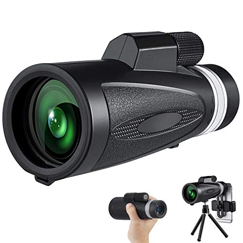 Uppye High Power Monocular Telescope - 12X50 HD Monocular Waterproof Monocular with Smartphone Holder & Tripod BAK4 Prism for Wildlife Bird Watching Hunting Camping Travelling
