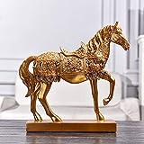 JMAHM Adornos de caballos, esculturas de caballos, resina, gran tamaño, decoración para el hogar, sala de estar (29 cm, dorado)