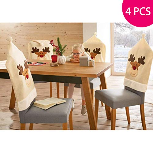 Funkprofi 4PCS Deer Hat Chair Covers Christmas/Daily Use Decor Dinner Chair Xmas Cap Sets, 23.62 x 19.68 Inches