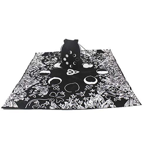 DENGHENG 2-teiliges Set mit Tarot-Tischdecke aus Samt mit Tasche, Hexe, Wahrsagung, Mondphasen, Liebhaber, Altartuch