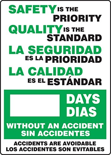 Accuform SBMSR129PL Plastic Spanish Bilingual Write-A-Day Safety Scoreboard, Legend 'SAFETY IS THE PRIORITY QUALITY IS THE STANDARD - #### DAYS WITHOUT AN ACCIDENT - ACCIDENTS ARE AVOIDABLE', 20' Length x 14' Width x 0.125' Thickness, Green/Black on White
