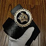 N\C Men's Belt Youth Style Shiny Buckle Pure Cowhide Casual Belt Medusa Shape Belt Buckle