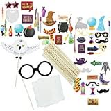 Juvale 60-Pack Magical Wizard Party Photo Booth Props, Assorted Designs