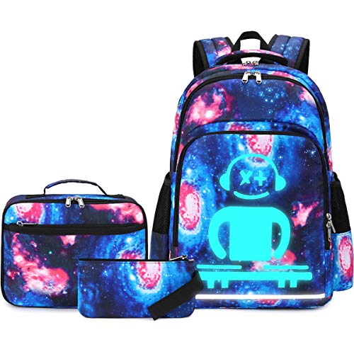 CAMTOP Galaxy Backpack for School Girls Boys Teens Bookbag Set Luminous Kids Backpack with Lunch Bag Girls Schoolbags (Galaxy-Luminous)