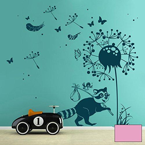 ilka parey wandtattoo-welt Sticker Mural Raton Laveur avec Oiseaux, Pissenlit, Papillons, Plumes et Points m1921, Rose Bonbon, L - 136cm breit x 140cm Hoch