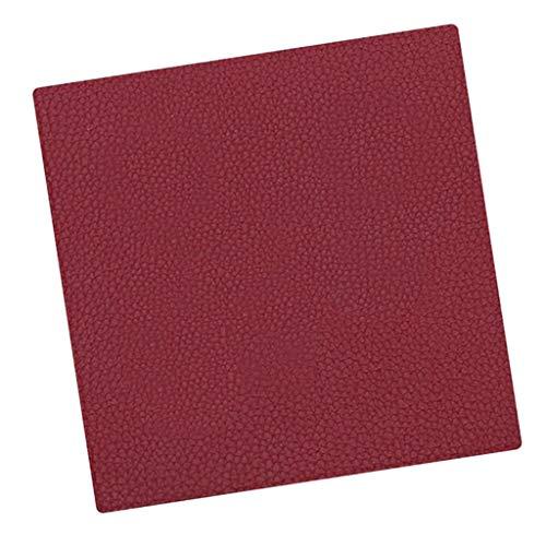 Sharplace 1x Dessous de Verre Carré Plateau Cuir Porte-Verre Sous-Verre de Table Tapis de Verre - Rouge foncé