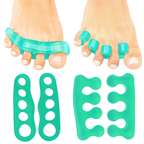 ViveSole Toe Stretchers (4 Pieces) - Silicone Gel Separators - Therapeutic Spa Spreaders for Plantar Fasciitis, Bunions, Overlapping Hammer Toe Spacers - Metatarsal Yoga Cushion (Green, Medium)…
