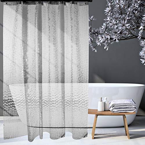HOMMINI Duschvorhang Anti Schimmel PEVA Badewannenvorhang Antibakteriell 3D Wasserwürfel Halbtransparent Shower Curtains mit 12 Vorhangring-180 x 180 cm(Halbtransparent Weiß)