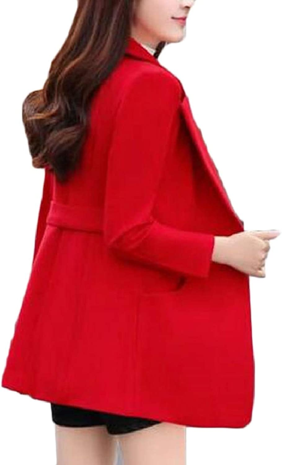 SmeilingCA Women's Slim Wool Blend Trench Coat Double Breasted Pea Coat