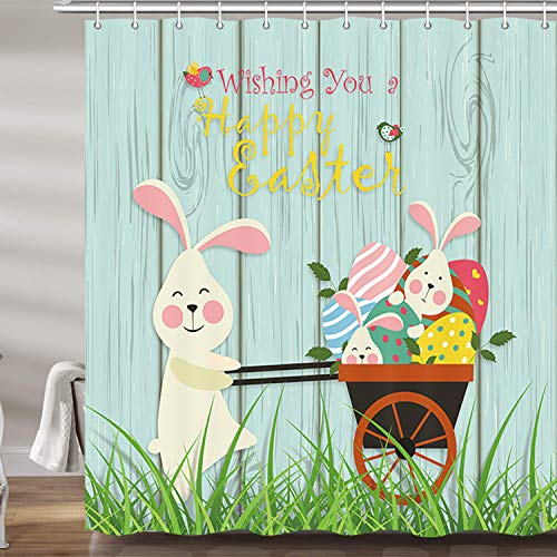 DYNH Easter Cartoon Shower Curtain Set, Spring Cute Rabbit Bunny Easter Eggs Wooden Board Premium Fabric Bath Curtains, Bathroom Accessories Decor with 12 Hooks, 69X70Inches