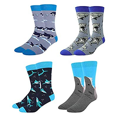 Zmart Men's Alien Flamingo Shark Cat Corgi Whale Socks, Funny Crazy Cool Design