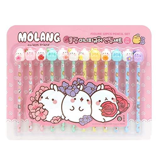 Molang Mini Figure pencil set Korean Stationery 12ea 1 set Ver.04