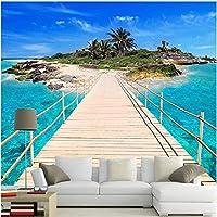 Lcymt 島につながるシーサイド跳ね橋、壁画壁紙海景リビングルームテレビソファ背景壁紙-250X175Cm