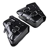 1 Pair (Left & Right) Black PU Leather Right Solo Side Swing Arm Saddle Bag Compatible with Harley Sportster XL883 XL1200