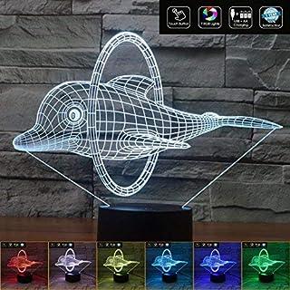 DELFINO in 3D Lampada led 7 colori plexiglass da tavolo Idea regalo a batterie e cavo usb a batteria + cavo micro USB da t...