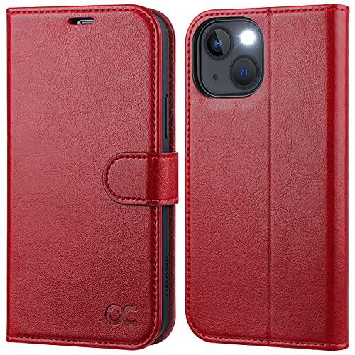 OCASE iPhone 13 Hülle Handyhülle [Premium PU Leder] [Kartenfach] [Magnetverschluss] RFID Schutzhülle Klapphülle Handytasche Lederhülle Flip Hülle Cover Tasche Etui Kompatibel für iPhone 13 Rot