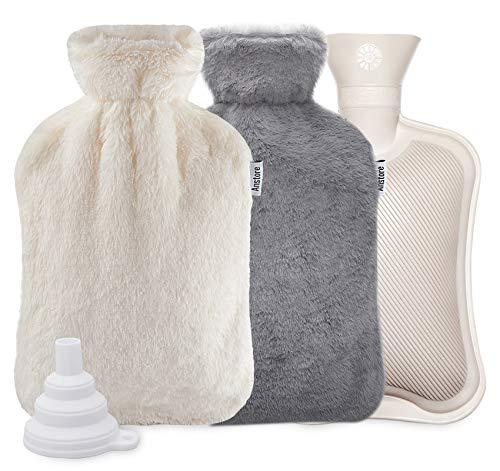 Anstore Wärmflasche mit Bezug 2 Liter, Wärmeflasche Groß, Weich & Flauschig Wärmflaschen, Bettflasche für Kinder und Erwachsene