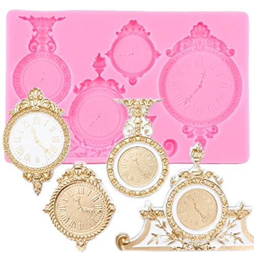 FGHHT Reloj mecánico Reloj moldes de Silicona Steampunk Molde para Fondant Cupcake Topper Herramientas de decoración de PastelesMolde paraChocolate y Caramelo