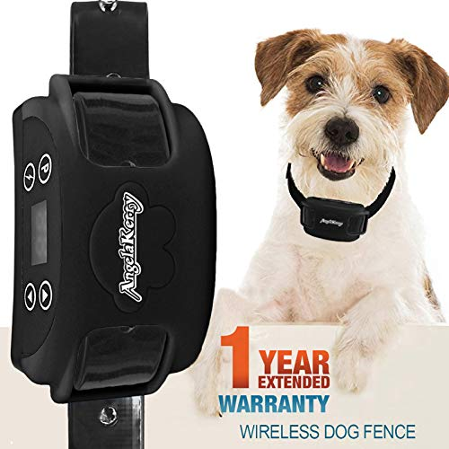 AngelaKerry Wireless Dog Fence System with GPS, Outdoor Pet Containment System Rechargeable Waterproof Collar 850YD Remote for 15lbs-120lbs Dogs (1pc...