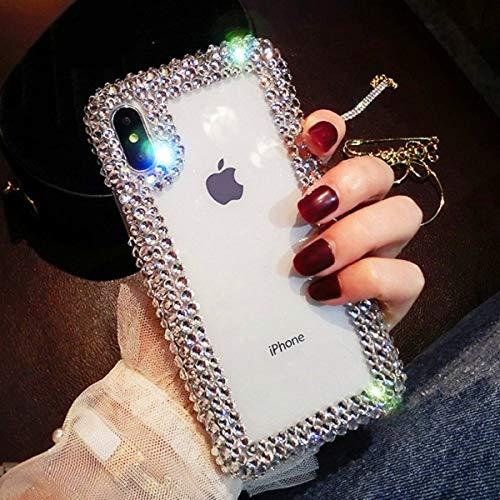 LIUYAWEI para iPhone 11 12 Mini Pro X XS MAX XR Funda para teléfono Diamante de imitación de Lujo Acrílico Cristal Transparente para iPhone 6 6S 7 8 Plus Coque, Taladro Transparente, para iPhone 7 8