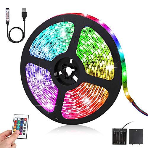 Tira LED de 3 m, SMD 5050 RGB, con mando a distancia + 20 cambios de color, IP65, resistente al agua, para cocina, hogar, dormitorio, TV, fiesta, clase energética A +