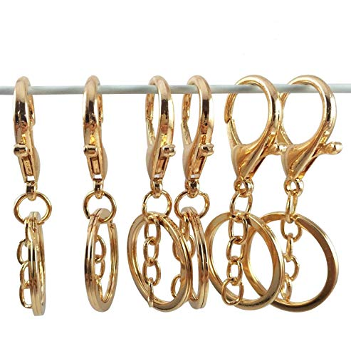 YAKA 10pcs Gold Lobster Clasp Keychain, Zinc Alloy snap Hook Key Chain Rings with Decor Chain