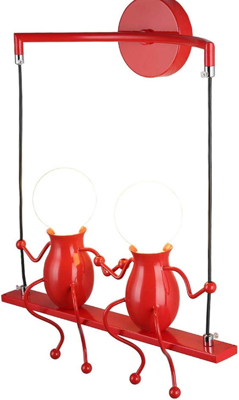 YL-Light Kreative Wandleuchte Charakteristische Wandlampe Moderne Puppe Schaukel Kinder Wandleuchte Geeignet Für Schlafzimmer Nachttisch, Kinderzimmer, Flur, Restaurant, Treppe, E27,2rot