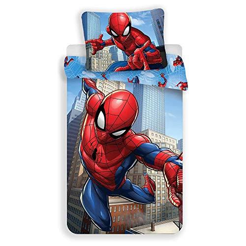 Marvel Spiderman - Juego de cama de 2 piezas, funda nórdica de 140 x 200 cm y funda de almohada de 70 x 90 cm