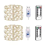 LEDライトストリングリモートコントロール、8モードdimmable 100LED銅ラインライト、クリスマス、寝室パーティー、結婚式の装飾とUSBソケットの妖精の光。 (2パック),White