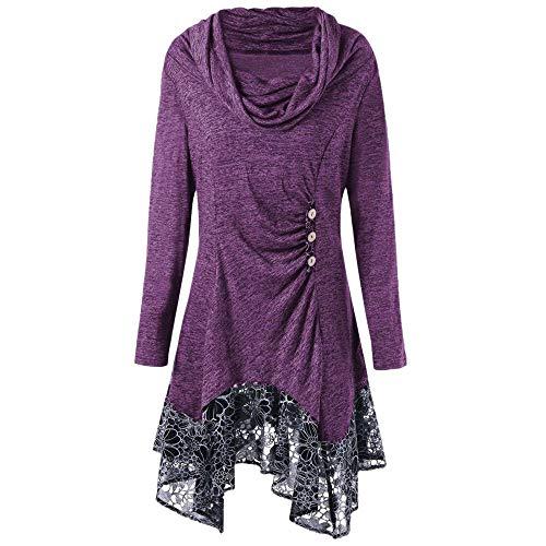 YWLINK Mode Frauen Spitze Patchwork Pulli Pullover Rollkragen Knopf Damen Langarm UnregelmäßIges Minikleid (M,Lila)