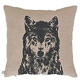 Frohstoff - Kissen Zierkissen - Wolf - 100% Leinen - Natur/Anthrazit - 50 x 50 cm