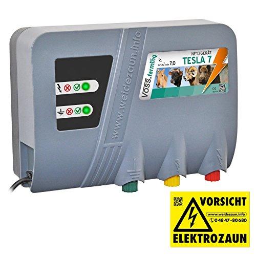 """VOSS.farming Weidezaungerät Tesla 7\"""" Duo Extra Power: 230 V, 10000 Volt, 7 Joule, für Lange Zäune, starker Bewuchs Elektrozaungerät 230 V Pferd"""