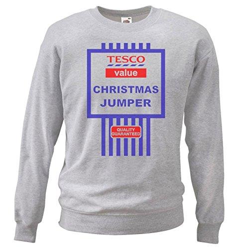 Grey Tesco's Value Christmas Jumpers Sweatshirt Funny Gift Idea [medium]