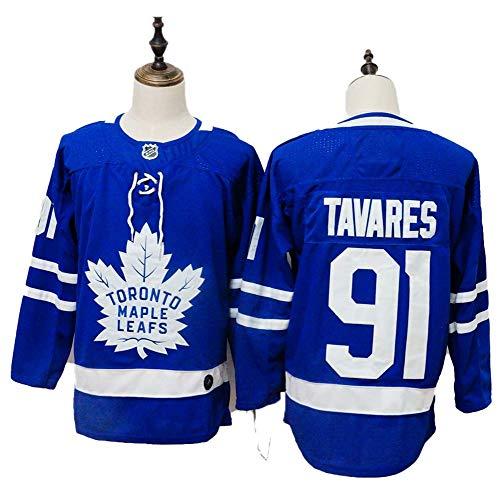Yajun John Tavares#91 Toronto Maple Leafs Eishockey Trikots Jersey NHL Herren Sweatshirts Atmungsaktiv T-Shirt Bekleidung,Blue,XL