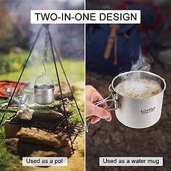 Lixada Titanium Cup Pot Ultralight Portable Cup Pot Suspendu avec Couvercle et poignée Pliable Camping en Plein air Randonnée pédestre 900ml