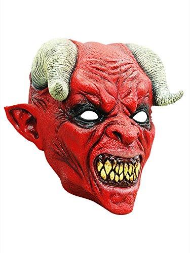 Blutrünstiger Teufel Halloween Latex Maske Dämon rot schwarz