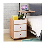 Micozy Adjustable Lift Top Nightstand - Removable Locker Lifting Storage Cabinet with Hidden Storage Compartment for Bedroom Bedside 15.75x15.75x22.44in (Yellow pear Wood)