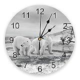 Modern Silent Wall Clock Polar Bear On The Frozen Lake Wall Clock Wall Digital Clock Home Decor Wall Clock Modern Design Living Room Decor