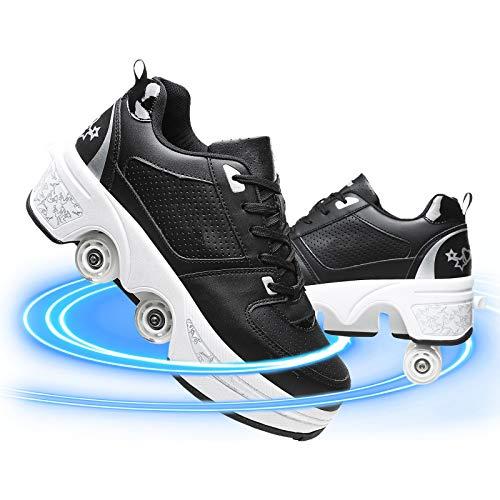 JYHGX Patines De Ruedas Mujer Invisible Polea Zapatos Doble Propósito Deformación Zapatos Recreación Al Aire Libre Zapatos Cómodo Transpirable