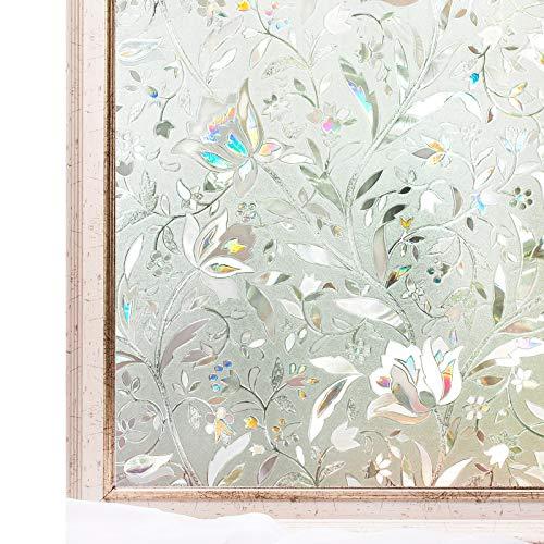 CottonColors 窓用フィルム 目隠しシート 何度も貼直せる 紫外線カット 遮熱 60x300cm のり無し 窓ガラスフィルム ステンドグラス DIY 蘭008