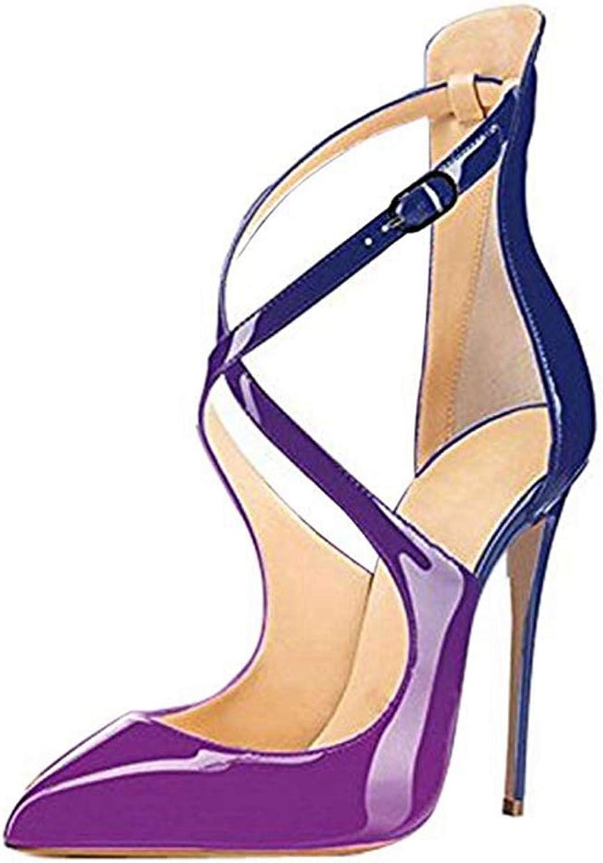 Women Heeled Sandals Pointed Toe Crisscross PU Leather Party Wedding Dress Stiletto Pumps