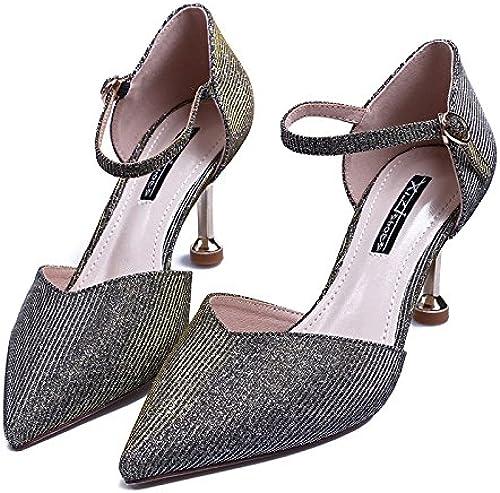 SFSYDDY Sexy Diamant Boucle 7Cm Des Chaussures Chaussures à Talons Hauts Du Printemps Et De L'été Chaussures Pointu Creux à La Mode Seul Les Chaussures.  se hâta de voir